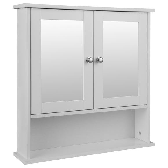 White Hanging Wall Bathroom Cabinet With Dual Mirror