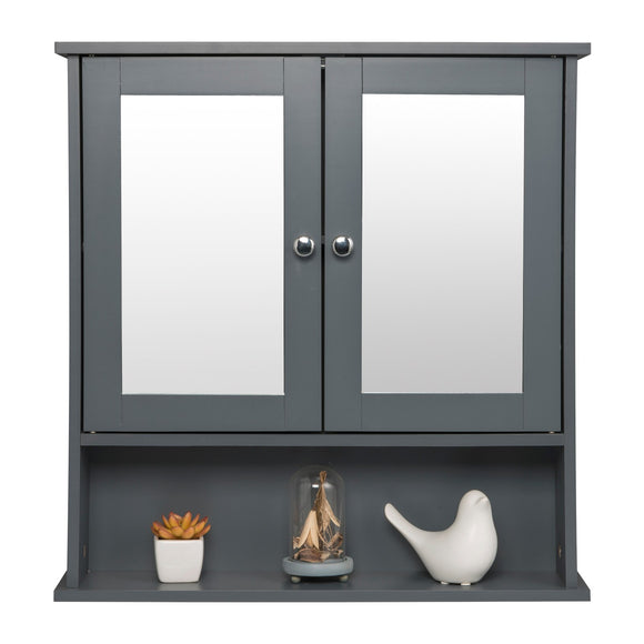 Grey Hanging Wall Bathroom Cabinet With Dual Mirror