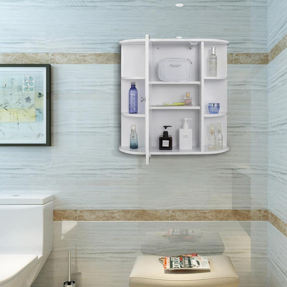 White Hanging Wall Bathroom Cabinet With Single Mirror