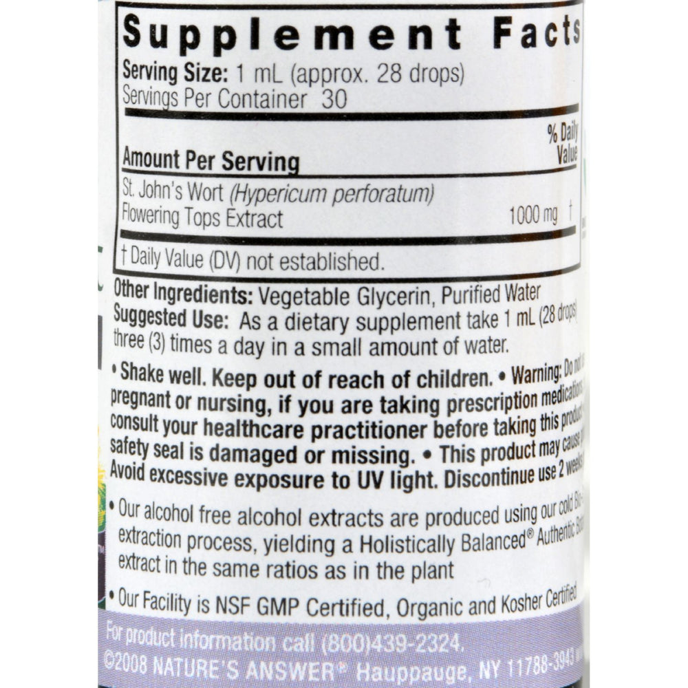 Nature's Answer - St John's Wort Young Flowering Tops Alcohol Free - 1 fl oz