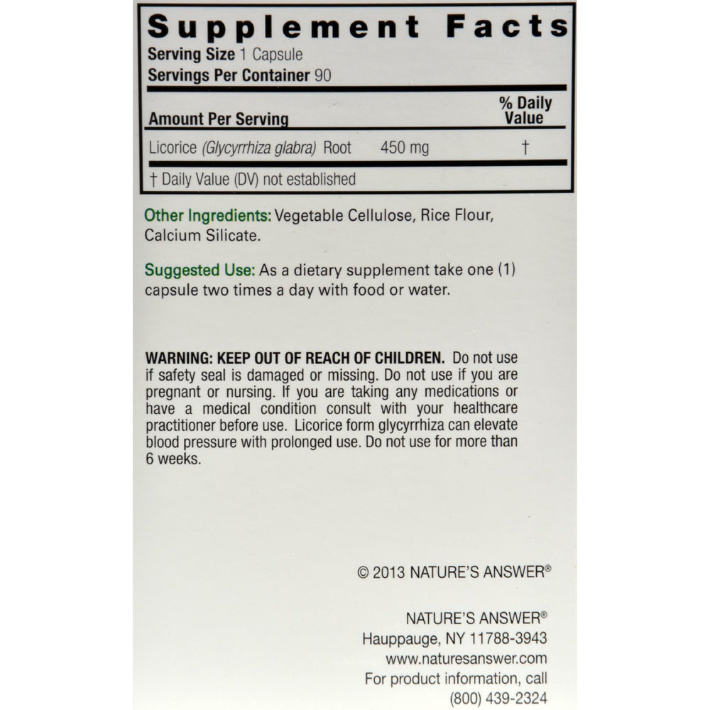 Nature's Answer - Licorice Root - 90 Vegetarian Capsules