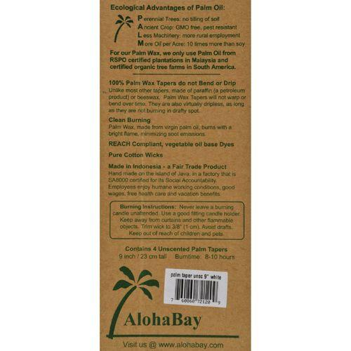 Aloha Bay - Palm Tapers - White - 4 Candles