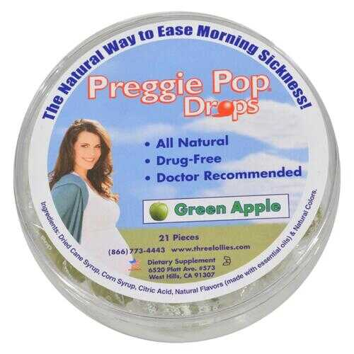 Three Lollies Preggie Pop Drops Natural Green Apple - 21 Pieces