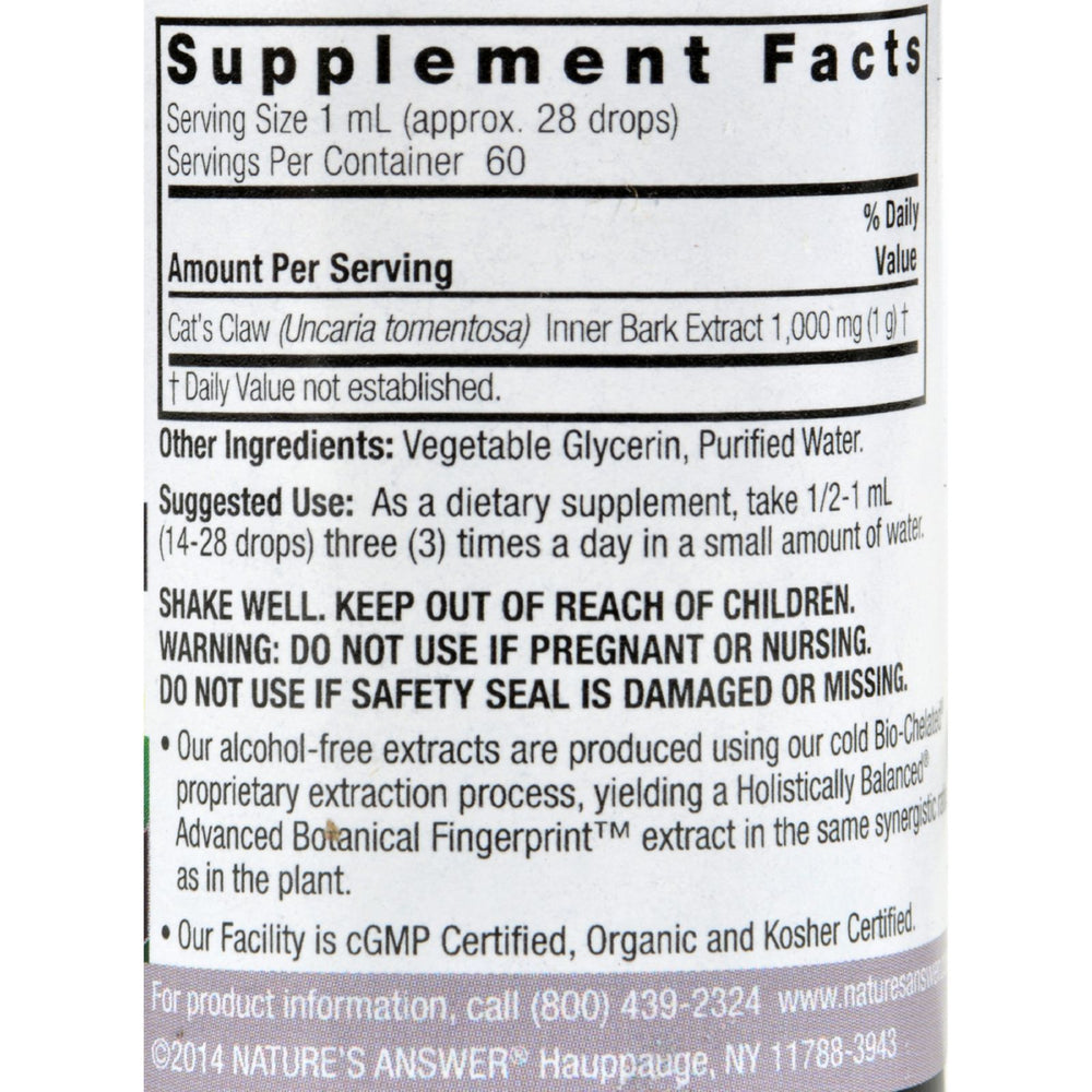 Nature's Answer - Cat's Claw Inner Bark Alcohol Free - 2 fl oz