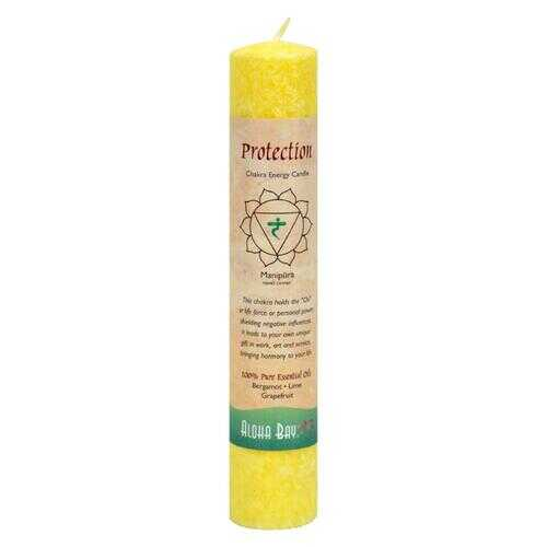 Aloha Bay - Chakra Pillar Candle Protection Yellow - 1 Candle
