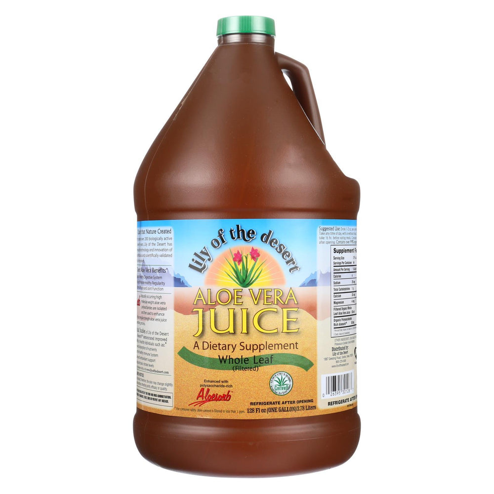 Lily of the Desert - Organic Aloe Vera Juice - Whole Leaf - Case of 4 - 1 Gallon