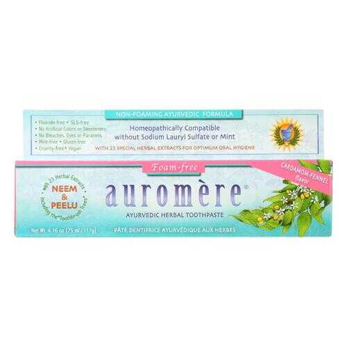 Auromere Toothpaste - Foam-Free Cardamom-Fennel - Case of 1 - 4.16 oz.