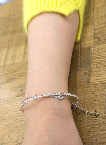 """A reference of Bracelet Tennis Cubic is layered with another item """"Bracelet 5 Cubics"""""""