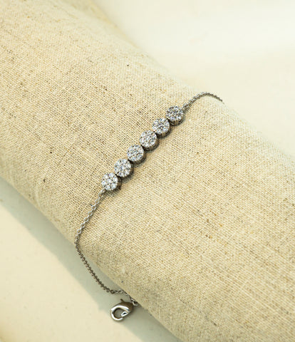 Reference Cut of Korean fashion bracelet Tennis Cubic in Silver Rhodium color.