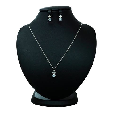 reference cut of 925 Nacre Crown & Cubic Necklace and Earrings set