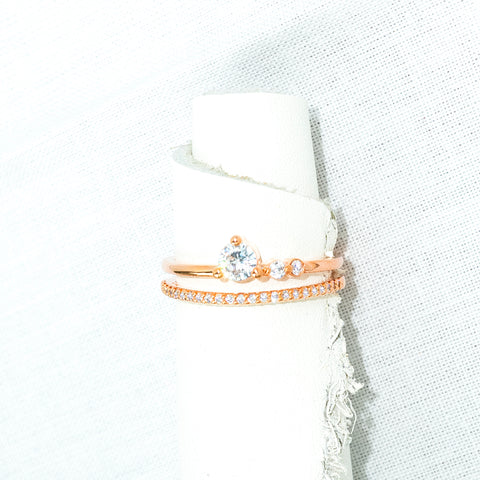 amy bel Korea ring Crown in 14KGP Rose Gold color with Cubic Zirconia is placed in the white background.