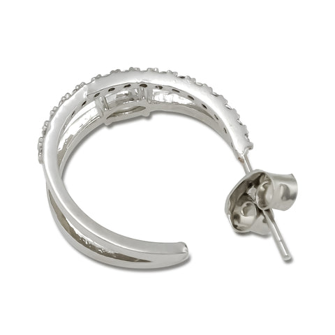 """Korean Hoop Earrings """"Dual Eclipse"""" in Silver color with Zircon Cubics and Tennis Stones with Silver Post shows its backside detail on the white background."""