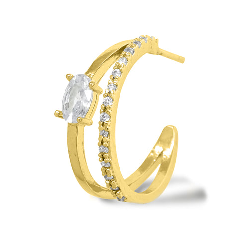 """Korean Hoop Earrings """"Dual Eclipse"""" in Gold color with Zircon Cubics and Tennis Stones with Silver Post stands on the white background."""