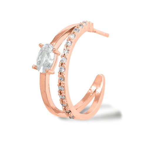 """Korean Hoop Earrings """"Dual Eclipse"""" in Rose Gold color with Zircon Cubics and Tennis Stones with Silver Post stands on the white background."""