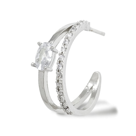 """Korean Hoop Earrings """"Dual Eclipse"""" in Silver color with Zircon Cubics and Tennis Stones with Silver Post stands on the white background."""