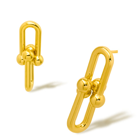 """A set of Korean earrings """"Link Chain"""" in Gold color featured in K-Drama stands on the white background"""