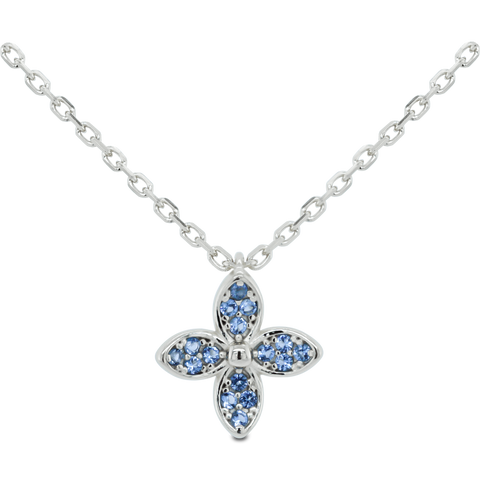 amy bel Korea Cubic Flower Necklace in Silver color and sapphire london blue made out of 925 sterling silver is displayed.