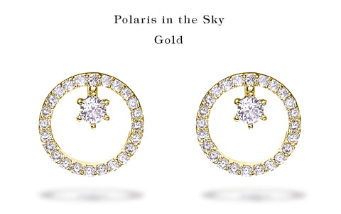"""A set of Korean earrings """"Polaris"""" in Gold color stands on the white background."""