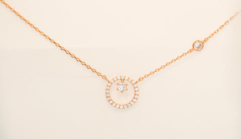 Korean fashion necklace Polaris in 14KGP Rose Gold color is presented on the white background.
