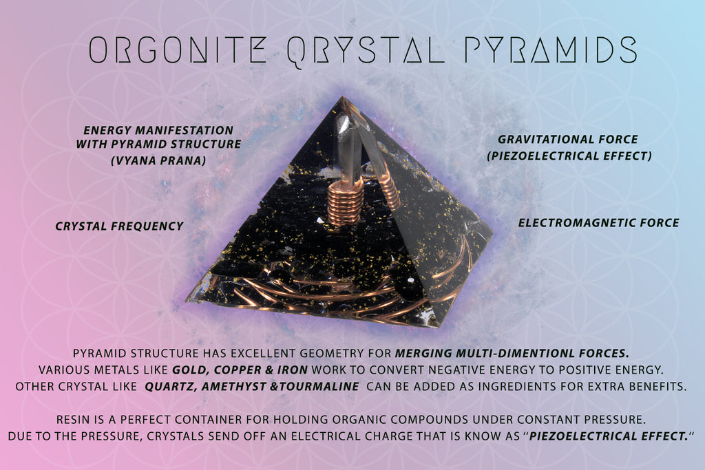 orgonite pyramids with crystals