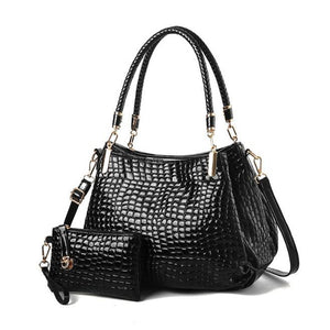 Women Fashion Shoulder Bags Handbags Purse Crocodile Design