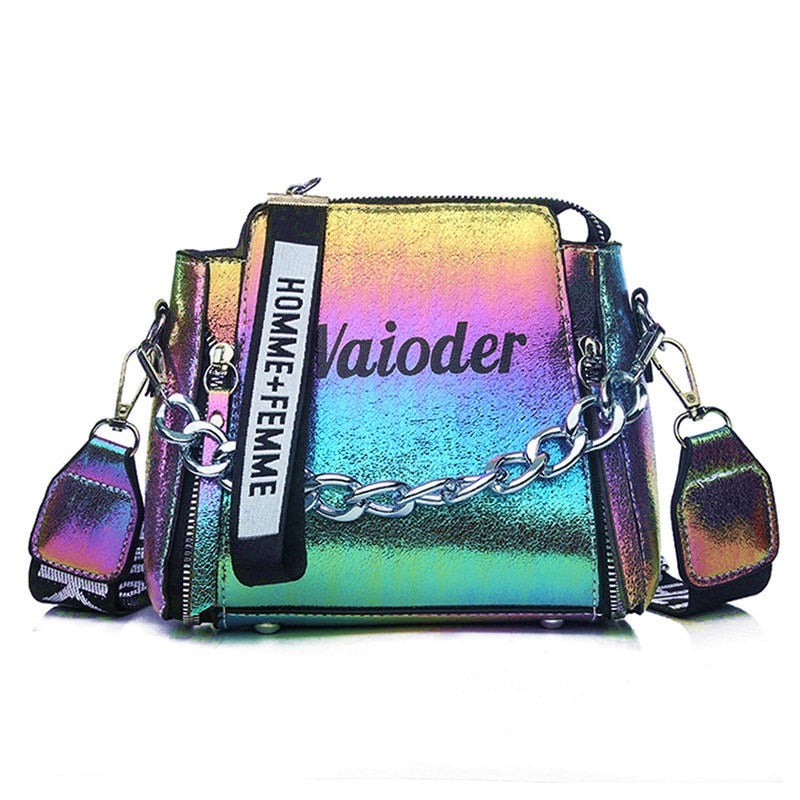 Yogodlns Laser Women Letter Shoulder Bag Exquisite Crossbody Bucket Bag