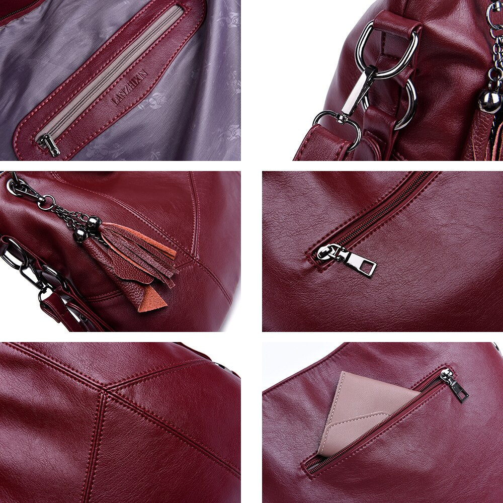 Women Top-handle Leather Handbags Messenger Bags Designer Crossbody Bags