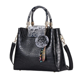 FUNMARDI Luxury PU Leather Crocodile Handbags Shoulder Bags