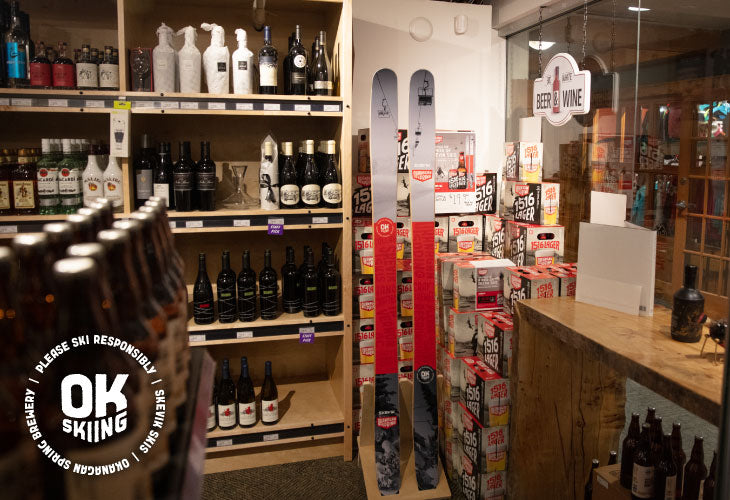 Skevik x Okanagan Spring Brewery collab skis on display at Big White Liquor Store