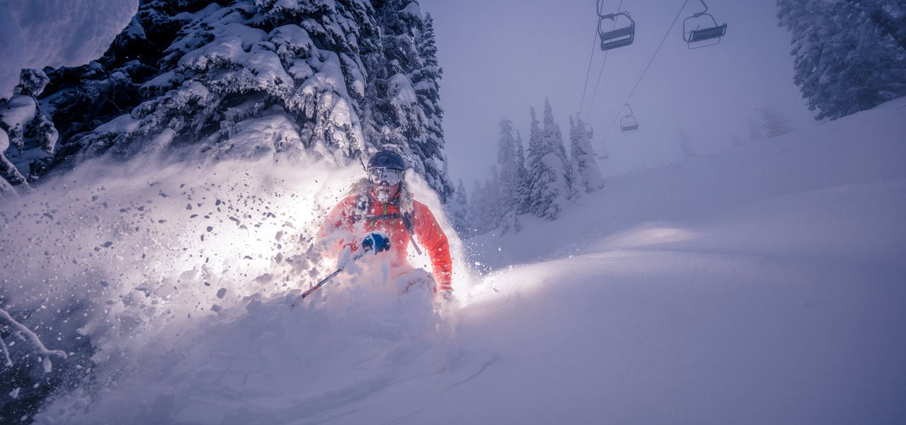 Skier getting fresh powder