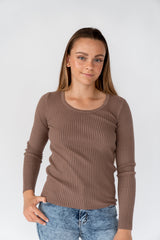 CUPID RIBBED TOP - CHOCOLATE