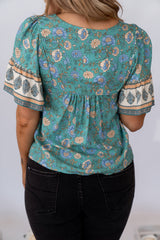 PENELOPE TOP - GREEN FLORAL