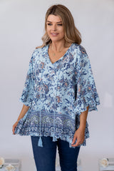 MERE TOP - BLUE PAISLEY