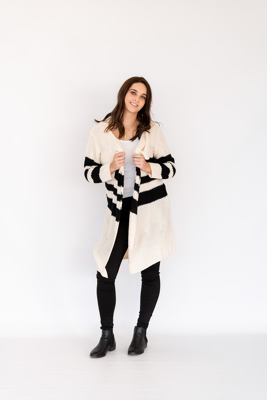 NALA STRIPE KNITTED CARDIGAN - CREAM