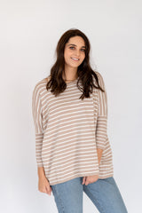 ELLERY TOP - CARAMEL STRIPE