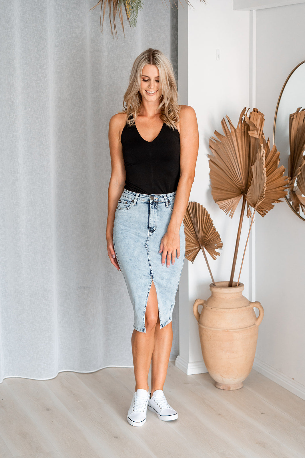 ROSE DENIM SKIRT - LIGHT DENIM