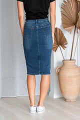 ROSE DENIM SKIRT - DARK DENIM