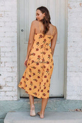 SUNSETS WRAP DRESS - YELLOW