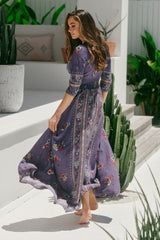 HIDDEN ROMANCE GOWN - INDIGO POPPY