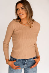 CUPID RIBBED TOP - TAN