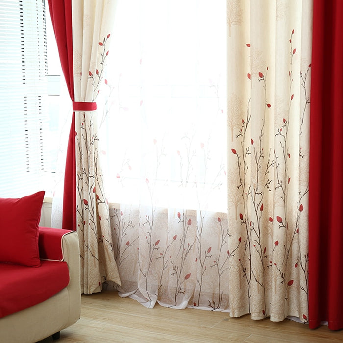 [byetee] Pastoral Curtains For Living Room Bedroom Drapes Custom Red Semi Light Window Curtain Voilage Rideaux Chambre