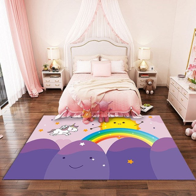 Pink Cartoon Unicorn Pattern 3D Carpets