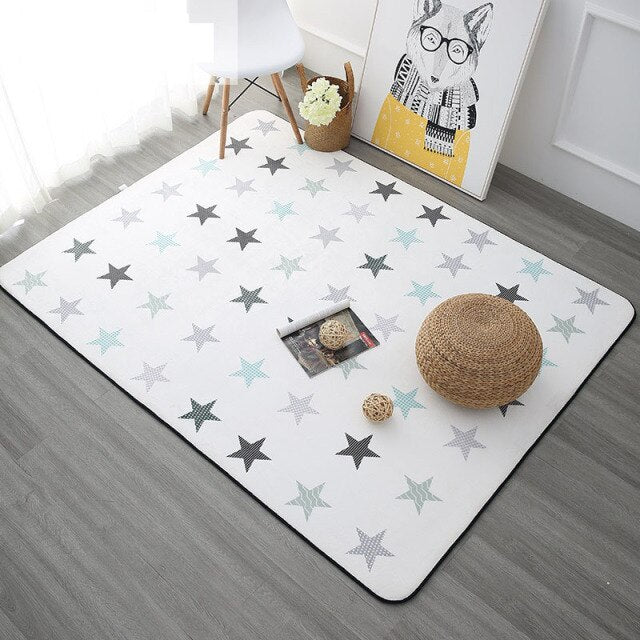 Nordic Stars Pattern Carpets for Living Room Bedroom Home Decor Rugs Kids Room Soft Plush Crawl Mats Coffee Table Area Carpet