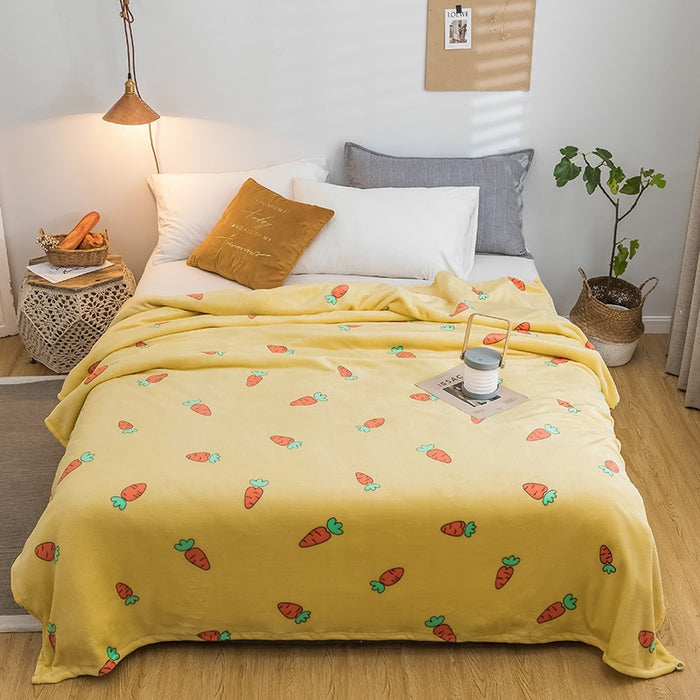 Radish bedspread blanket 200x230cm High Density Super Soft Flannel Blanket to on for the sofa/Bed/Car Portable Plaids