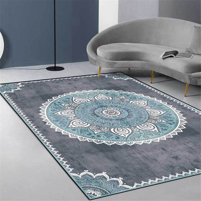 Gray Blue Mandala Carpet Vintage Europe Simple Bedroom Bedside Carpet Nordic Ethnic Style Carpet Hallway Kitchen Rug Mat