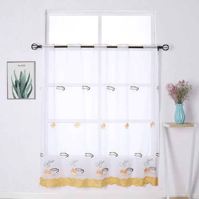 TONGDI Kitchen Curtain Valance Sheer Tiers  Pastoral  Fruit Cafe Tulle Beautiful Embroidery  For Window Of Kitchen Dining Room