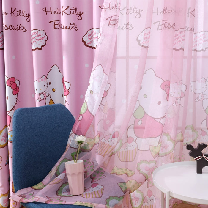 GYC2370 Blackout Curtain for Living Room Cartoon Cute Cat Printed Drapes Girl Children Bedroom Sheer Tulle Window Decoration