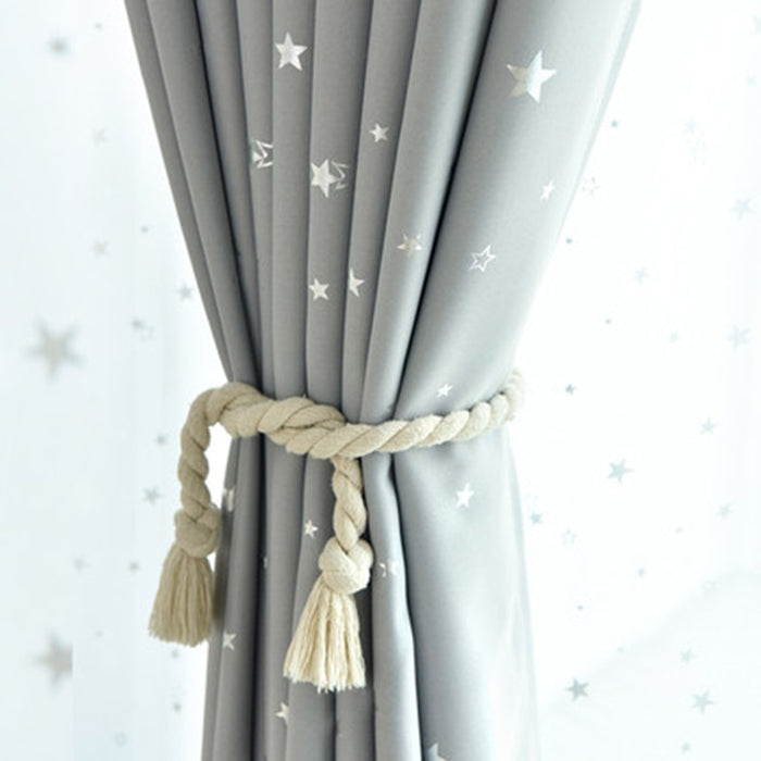 Grey Black Star Printed Curtains For Children Kids Boys Bedroom Nursery French Window Cortinas P123C