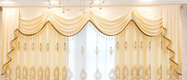 New European Style Curtains for Living Dining Room Bedroom High-end Embroidery Curtain Thick Fabric valance Curtain Tulle Custom