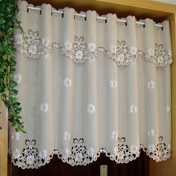 British Half-curtain Sunflower Embroidered Window Valance Hollow Hem Light Shading Blackout Curtain for Kitchen Cabinet Door